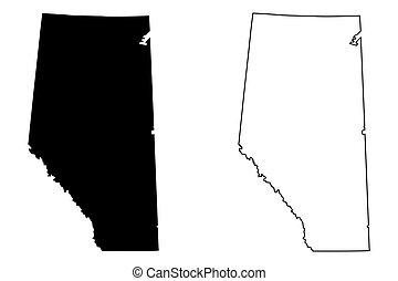 Alberta (provinces and territories of Canada) map vector illustration, scribble sketch Alberta map