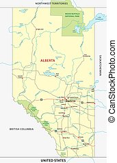 alberta road and national park map