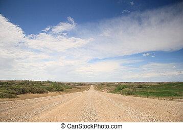Alberta Sky - Rural Alberta road stretching into a big blue...