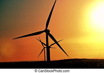alberta, sol gläns, på, windfarm