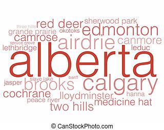 Alberta - A word cloud listing the major cities of Alberta.