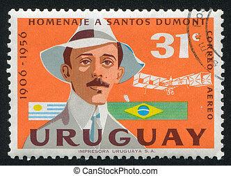 Alberto Santos Dumont - URUGUAY - CIRCA 1959: stamp printed...