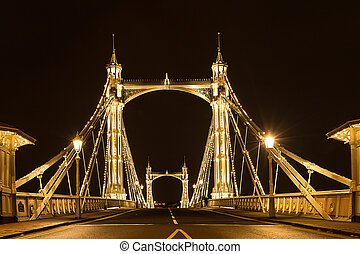 Albert's bridge at night London United Kingdom uk - Albert's...