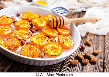 albicocche, con, miele