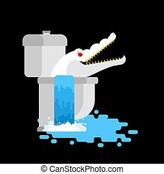 Albino alligator in toilet. Crocodile White Monster in sewer. Predator animal. City legend. Vector illustration