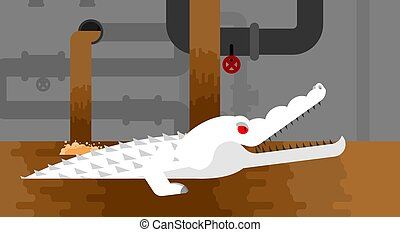 Albino Sewer alligator. Crocodile in sewerage. Predator animal. City legend. Vector illustration