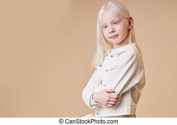 albinos, vieux, isolé, adorable, 7-9, girl, années