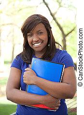 albo, ładny, afrykańska-amerikanka, uniwersytet, samiczy student, kolegium