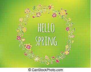 albo, barwny, doodle, zaproszenie, karcięta., tło, lato, ślub, ułożyć, wektor, powitanie, koło, projektować, flowers., wiosna