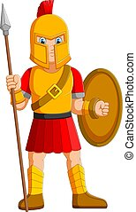 albo, dzierżawa, starożytny, gladiator, wojownik, włócznia, przedstawianie