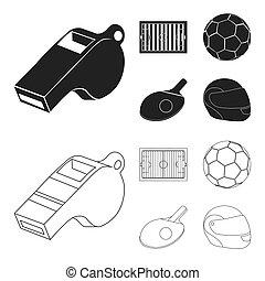 albo, grając piłkę, szkic, rugby., styl, ochronny, futbolowa piłka, symbol, bitmapa, pole, komplet, rękawiczka, pień, sport, znakowanie, web., baseball, ping-pong, hełm, ikony, stadion, piłka nożna, czarnoskóry, gra, ilustracja, rakieta, zbiór