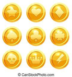 albo, gui, tamburyn, monety, klub, wiosłować, sieć, odizolowany, komplet, wektor, liść, gwiazda, serce, ui., korona, gra, złoty, daszek, ilustracja, koniczyna, symbols., zastosowanie, piorun