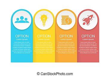 albo, infographics, opcje, prezentacja, handlowy 4, wykres, diagram., kroki, szablon, strony, elementy