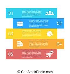 albo, infographics, opcje, prezentacja, handlowy, 5, wykres, diagram., kroki, szablon, strony, elementy