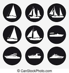 albo, internet, graficzny, poznaczcie., prosty, sieć, statek, symbol, jacht, komplet, przyjemność, guzik, design., łódka, luksus, app, szybkość, rejs, website, ikony, ruchomy, czarne tło, pojęcie