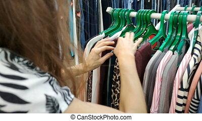 albo, kobieta, młody, fason, sprzęt, room., jej, odzież, ...
