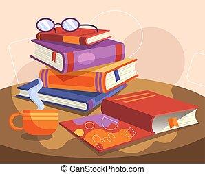 albo, książki, parowanie, wektor, barwny, okulary,...
