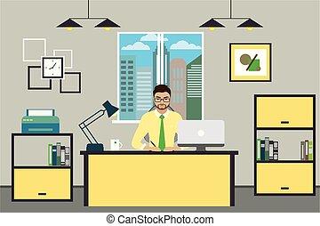 albo, pracujący, biuro., biznesmen, nowoczesny, rysunek, dom