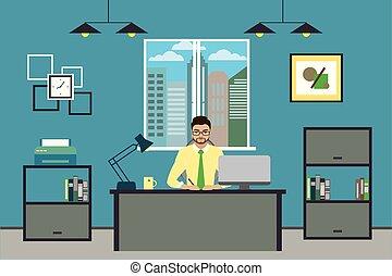albo, pracujący, biznesmen, nowoczesny, biuro, rysunek, dom
