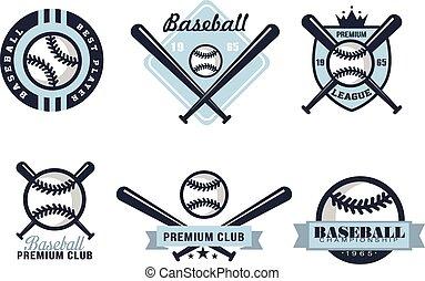 albo, różny, emblematy, baseball, projekty, symbole