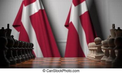 albo, ręczy, 3d, rywalizacja, bandery, dania, powinowaty, gra, za, chessboard., szachy, ożywienie, polityczny