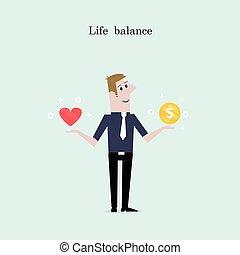 albo, serce, balance., biznesmen, życie, biuro, ikona, monety, złoty, ręka., jego, praca, czerwony, dyrektor, pojęcie, pracownik