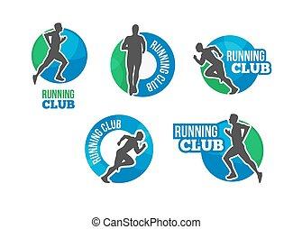 albo, triathlon, wyścigi, etykieta, logo., klub, workout., icon., run., emblem., man., ikona, wektor, maraton, pasaż, ?ompetition, cardio