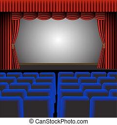 albo, wektor, ilustracja, teatr, kino