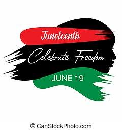 albo, wolność, afro-amerikanka, dzień, juneteenth