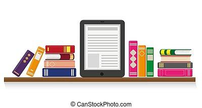 albo, wykształcenie, concept., online, czytanie, nauka