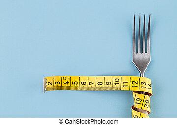 albo, zdrowy, mierniczy taśma, pojęcie, dieta, jedzenie, widelec