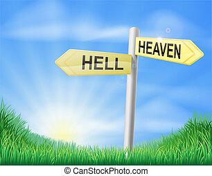 albo, znak, decyzja, niebo, piekło