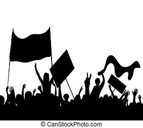 alborotos, huelga, trabajadores, protesters