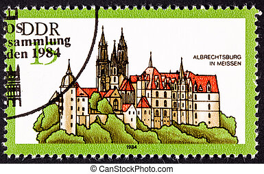 Albrechtsburg Castle, Meissen Germany. Castle was built as a home rather than a fortification starting in 1471. Stamp issued by East Germany.