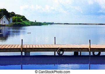 albufera, jezioro, w, valencia, el, saler