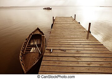 albufera, lago, pantanos, muelle, en, valencia, españa
