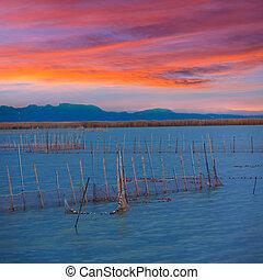 Albufera sunset lake park in Valencia el saler Spain -...