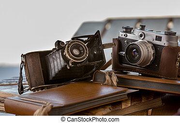 album, asztal, cameras, öreg