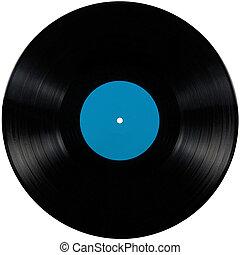 album, bleu, jeu, disc;, isolé, long, étiquette, noir, vinyle, lp, vide, cyan, disque