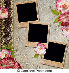 album, bloemen, dekking, kant