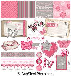 album, disegni elementi, -, vendemmia, laccio, farfalle, -,...