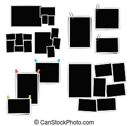 album, ensemble, photo, arrière-plan., vecteur, conception, gabarit, cadres, blanc, composition