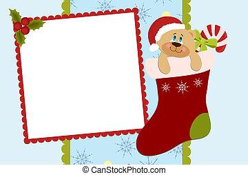 album, fénykép, csecsemő, karácsony, sablon