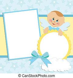 album, fénykép, csecsemő, sablon