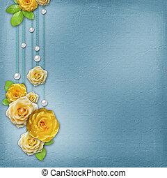 album, felicitatie, ouderwetse , rozen, achtergrond, of, kaart