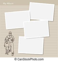 album, fiú, fénykép, -, kéz, húzott, ember