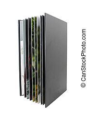 album, foto, bianco, nero, isolato
