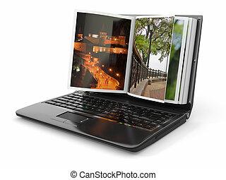 album, foto, laptop, photoviewer., screen.