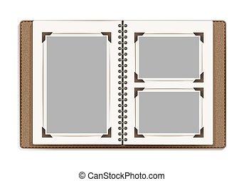 album, frames., fénykép, vektor, tervezés, retro, sablon, idős, apródok