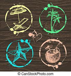 album, francobollo, tuo, viaggiare, vacanza, -, set, collezione, vector., illustrazioni, mano, disegnato, disegno